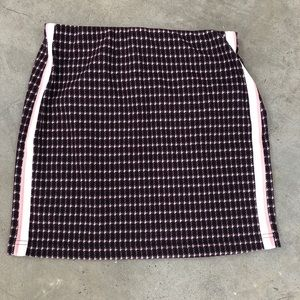 Maroon, pink, and white plaid skirt